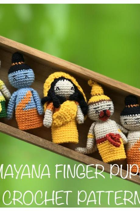 FINGER PUPPET amigurumi crochet pattern Ramayana, play at home toddler gift, living room art decoration (PDF English tutorial)