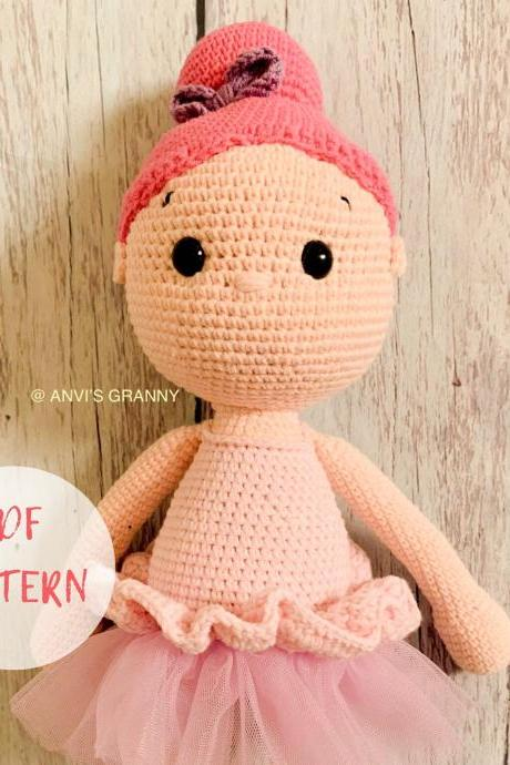 PDF Crochet pattern- Bell the Ballerina amigurumi doll tutorial (English)
