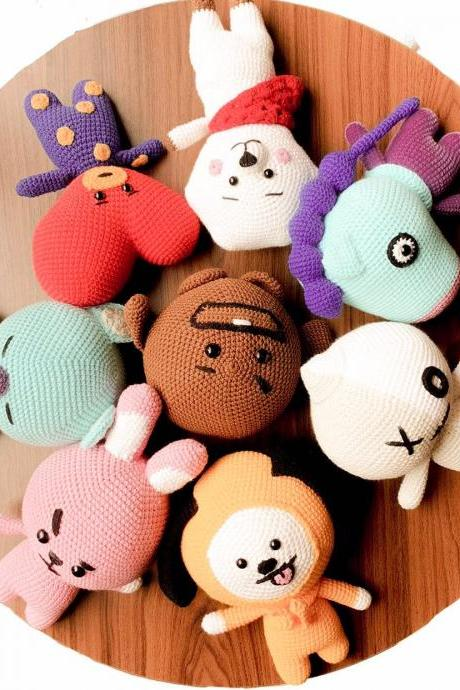 8in1 BT21 Crochet Pattern, BTS Bangtan Army Korean band Amigurumi crochet doll tutorial, Tata Mang Koya Van Shooky RJ Cooky Chimmy (English)