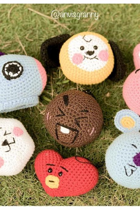 7in1 BT21 Crochet Pattern, Mini BTS BT21 Bangtan Army amigurumi keychain pattern, Tata Mang Koya Shooky RJ Cooky Chimmy (English)