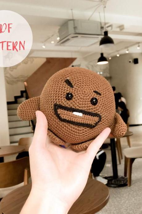 Shooky PDF Amigurumi pattern, BTS BT21 Bangtan Korean band, crochet doll tutorial (English)
