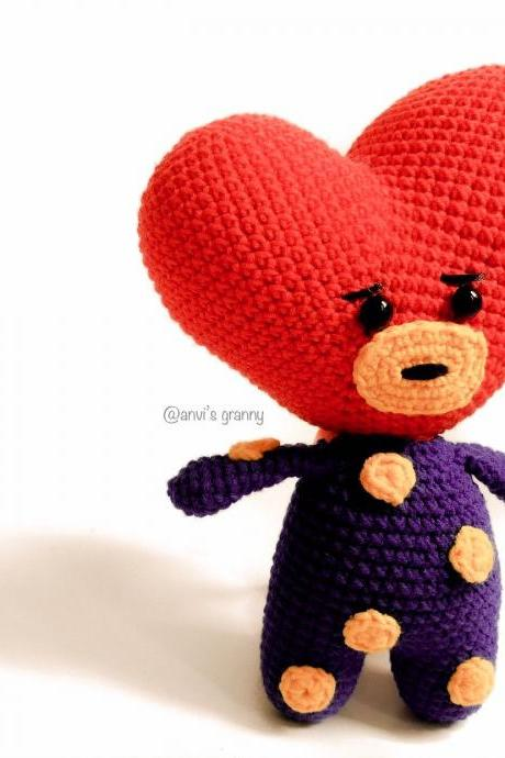 Heart for mom - Tata PDF crochet pattern, BT21 BTS Korean Band Doll, amigurumi doll pattern (English)