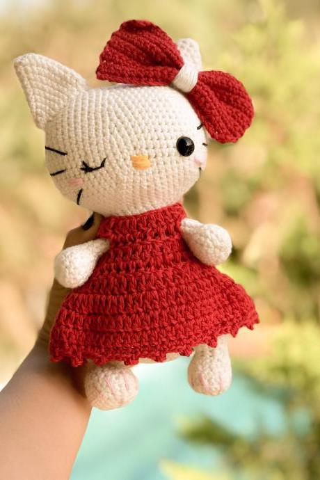 PDF crochet pattern, Chubby Kitty cat amigurumi doll pattern, crochet solftoy MK, gift for mom (English)