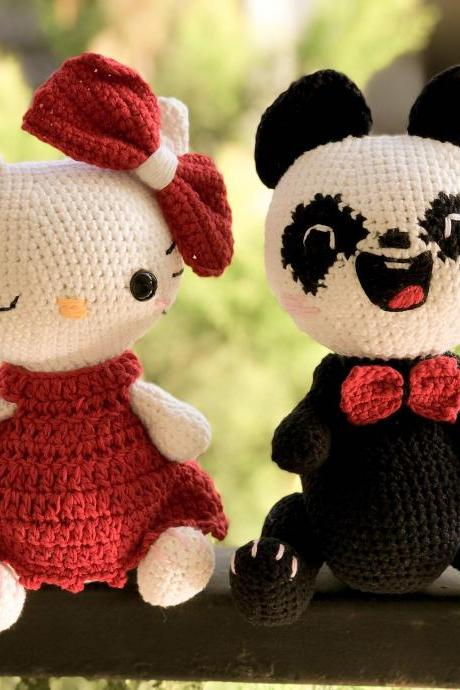 PDF crochet pattern, Mother's day gift Chubby couple Panda and Kitty amigurumi pattern, crochet solftoy MK (English)