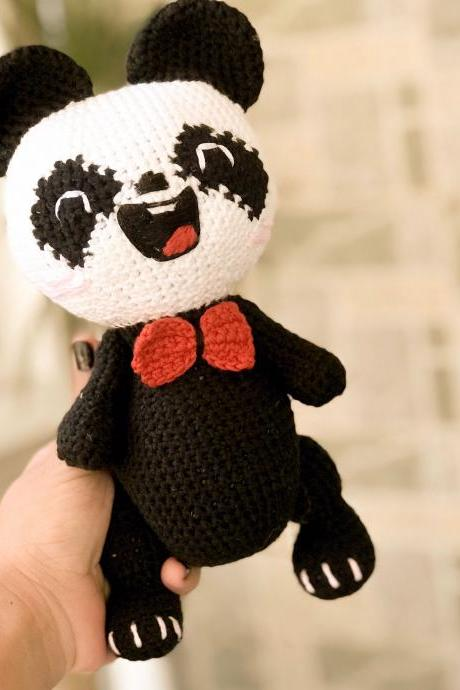 PDF crochet pattern, Chubby Panda amigurumi doll pattern, crochet solftoy MK (English)