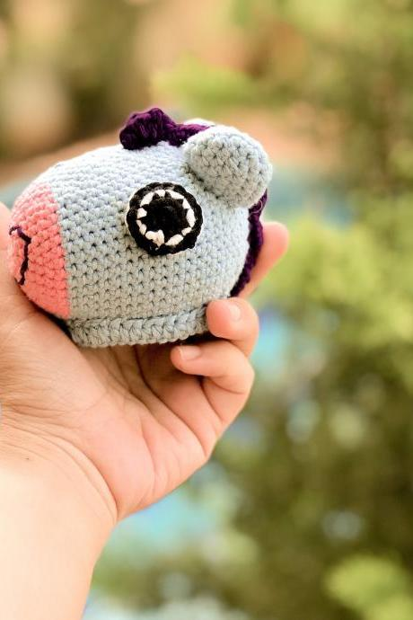 PDF Crochet pattern - Mini Mang BTS BT21 Korean band, cute pony horse key chain and ornament amigurumi tutorial (English)