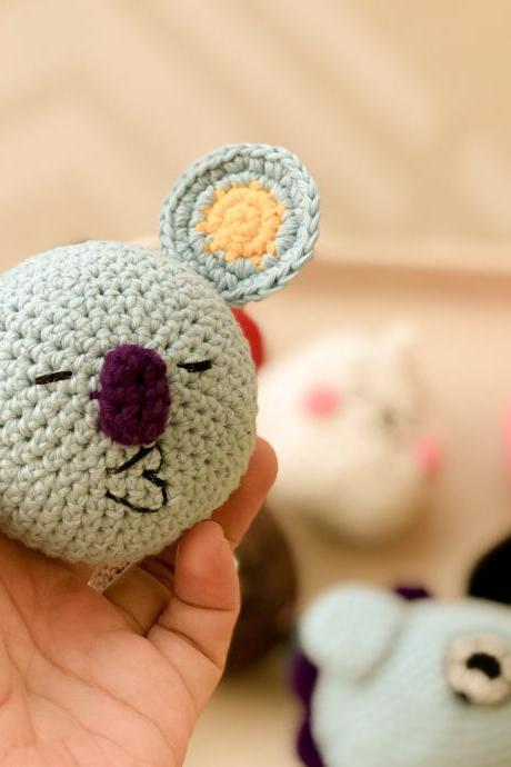 PDF Crochet pattern - Mini Koya BTS BT21 Korean band, cute kaola key chain and ornament amigurumi tutorial (English)