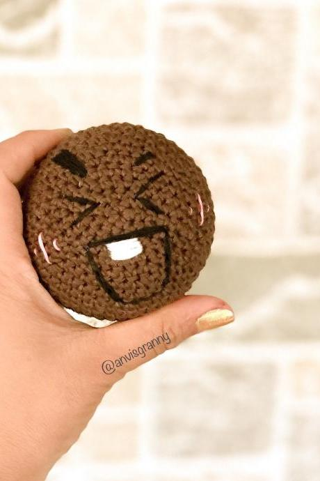 PDF Crochet pattern - Mini Shooky BTS BT21 Korean band inspired, cookie keychain and ornament (English)