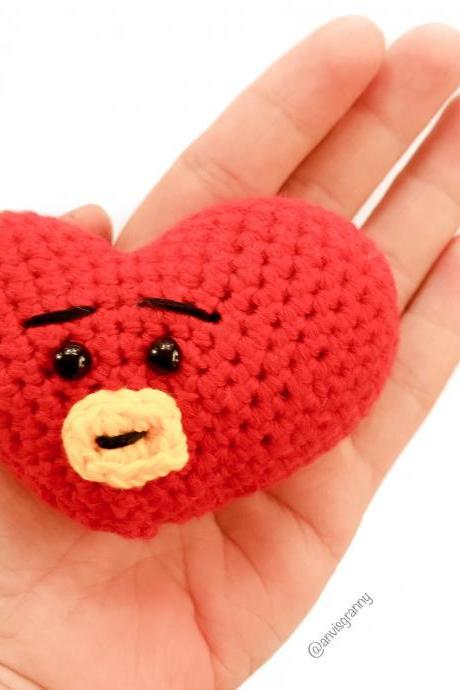 PDF Crochet pattern - Mini Tata BTS BT21 Korean band, cute heart shape keychain and ornament amigurumi tutorial (English)
